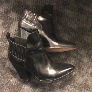Maje Black leather booties
